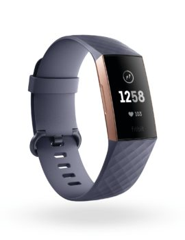 Product render of Fitbit Charge 3, 3QTR view, in Classic Blue Gray and Rose Gold