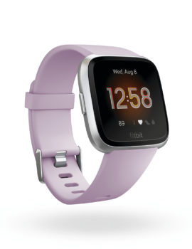Product render of Fitbit Versa Lite Edition, 3QTR view, in Lilac and Silver