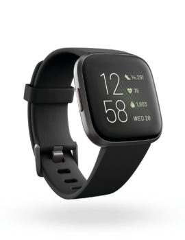 Product render of Fitbit Mira, 3QTR view, in Black and Carbon.