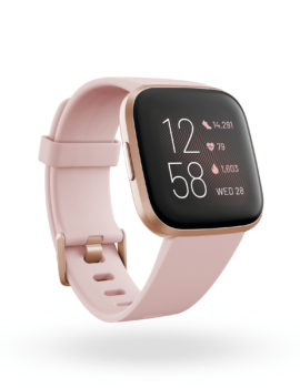 Product render of Fitbit Mira, 3QTR view, in Petal and Copper Rose.
