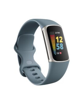 Product render of Fitbit Morgan, 3QTR view, in Steel Blue and Platinum.